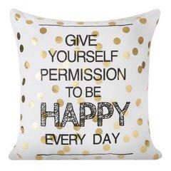 Poszewka na poduszkę 40 x 40 cm happy every day biało złota  - 40 X 40 cm - biały/złoty 1