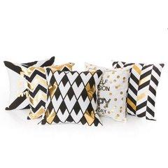 Poszewka na poduszkę 40 x 40 cm Happy Every Day biało złota  - 40x40 - biały 2
