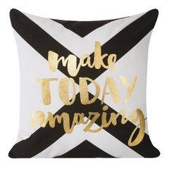 Poszewka na poduszkę 40 x 40 cm biało czarna make today amazing  - 40 X 40 cm - biały/złoty 1