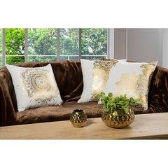 Poszewka na poduszkę szaro złota 40 x 40 cm  - 40x40 - szary 3