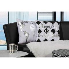 Biała poszewka na poduszkę srebrna mapa 40 x 40 cm  - 40 X 40 cm - biały/srebrny 6