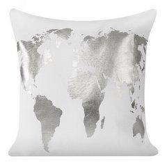 Biała poszewka na poduszkę srebrna mapa 40 x 40 cm  - 40 X 40 cm - biały/srebrny 3