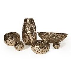 Kula ceramiczna ażurowa stare złoto 11 cm - ∅ 11 X 11 cm - brązowy 2