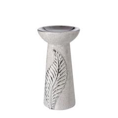 Świecznik ceramiczny z wytłaczanym liściem 20 cm - ∅ 11 X 20 cm - srebrny 1