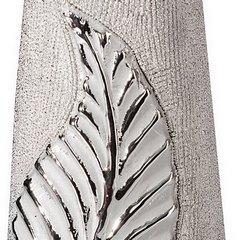 Świecznik ceramiczny z wytłaczanym liściem 20 cm - ∅ 11 X 20 cm - srebrny 6