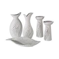 Świecznik ceramiczny z wytłaczanym liściem 20 cm - ∅ 11 X 20 cm - srebrny 2