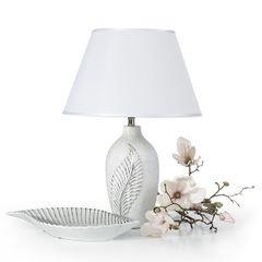 Świecznik ceramiczny z wytłaczanym liściem 20 cm - ∅ 11 X 20 cm - srebrny 4