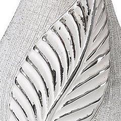 Wazon ceramiczny z wytłaczanym liściem 30 cm - 14x10x30 - srebrny 4