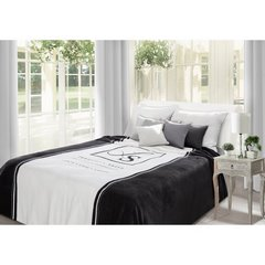 Duży koc z eleganckim czarno-biały nadrukiem 220x240 - 220 X 240 cm - Biały / Czarny 1
