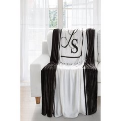 Duży koc z eleganckim czarno-biały nadrukiem 220x240 - 220 X 240 cm - Biały / Czarny 2