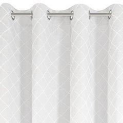 Biała zasłona z żakardu w geometryczny wzór 135x250 cm przelotki - 135X250 - biały 2
