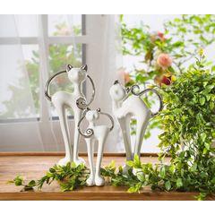 Wazon dekoracyjny kaktus biało-srebrny 25 cm - 15 X 9 X 25 cm - biały/srebrny 3