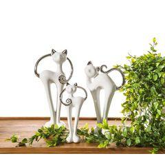 Wazon dekoracyjny kaktus biało-srebrny 25 cm - 15 X 9 X 25 cm - biały/srebrny 4