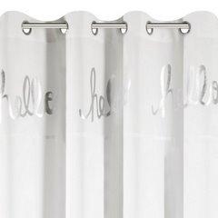 Zasłona biała ze srebrnymi napisami 140x250 cm przelotki - 140x250 - biały 5
