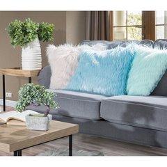 Poszewka na poduszkę futerko jasno miętowa 55 x 55 cm - 55 X 55 cm - jasnomiętowy 6