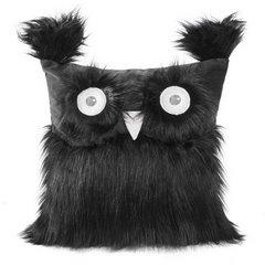 Poszewka na poduszkę 40 x 40 cm w kształcie sowy czarna - 40x40 - czarny 1