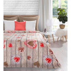 Ciepły, romantyczny koc aneta w serduszka 150x200cm - 150 X 200 cm - stalowy/czerwony 1