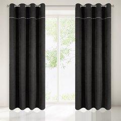 Zasłona czarna na przelotkach 140 x 250 cm zdobiona srebrnym zamkiem  - 140 X 250 cm - czarny 2
