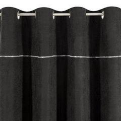 Zasłona CZARNA na przelotkach 140 x 250 cm zdobiona srebrnym zamkiem   - 140x250 - czarny 3