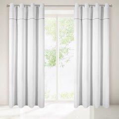Zasłona biała na przelotkach 140 x 250 cm zdobiona srebrnym zamkiem  - 140 X 250 cm - biały 2
