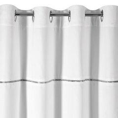 Zasłona biała na przelotkach 140 x 250 cm zdobiona srebrnym zamkiem  - 140 X 250 cm - biały 6