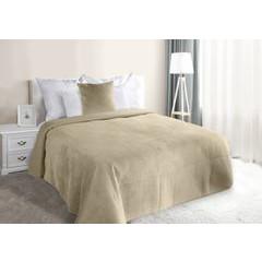 Narzuta na łóżko welwetowa pikowana hotpress 200x220 cm beżowa - 200x220 - beżowy 4