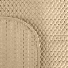 Narzuta na łóżko welwetowa pikowana hotpress 200x220 cm beżowa - 200 X 220 cm - jasnobeżowy 3