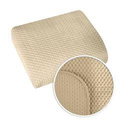 Narzuta na łóżko welwetowa pikowana hotpress 200x220 cm beżowa - 200 X 220 cm - jasnobeżowy 4