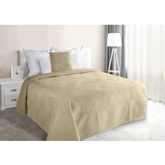 Narzuta na łóżko welwetowa pikowana hotpress 200x220 cm beżowa - 200 X 220 cm - beżowy 1