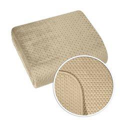 Narzuta na łóżko welwetowa pikowana hotpress 200x220 cm beżowa - 200 X 220 cm - beżowy 6