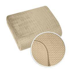 Narzuta na łóżko welwetowa pikowana hotpress 200x220 cm beżowa - 200 X 220 cm - beżowy 4