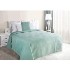 Narzuta na łóżko welwetowa pikowana hotpress 200x220 cm miętowa - 200 X 220 cm - miętowy 1