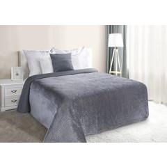 Narzuta na łóżko welwetowa pikowana hotpress 200x220 cm grafitowa - 200x220 - grafitowy 1