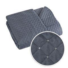 Narzuta na łóżko miękka zdobiona cekinami 220x240 cm stalowa - 220 X 240 cm - stalowy 4