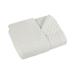 Narzuta na łóżko miękka zdobiona cekinami 170x210 cm kremowa - 170 X 210 cm - kremowy 1