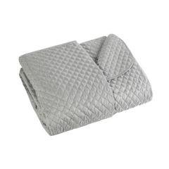 Narzuta na łóżko miękka zdobiona cekinami 170x210 cm srebrna - 170 X 210 cm - srebrny 2