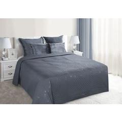 Narzuta na łóżko miękka zdobiona cekinami 170x210 cm stalowa - 170x210 - szary 1