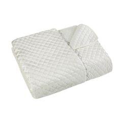 Narzuta na łóżko pikowana zdobiona cekinami 170x210 cm kremowa - 170 X 210 cm - kremowy 2