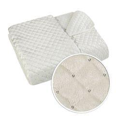 Narzuta na łóżko pikowana zdobiona cekinami 170x210 cm kremowa - 170 X 210 cm - kremowy 4