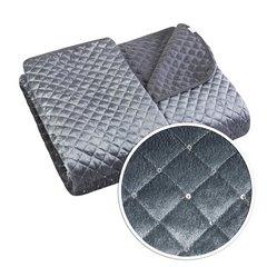 Narzuta na łóżko pikowana zdobiona cekinami 170x210 cm stalowa - 170 X 210 cm - stalowy 6