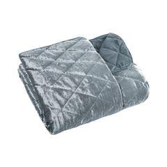 Narzuta na łóżko welwetowa kryształki 200x220 cm stalowa - 200x220 - szary 2