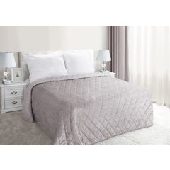 Narzuta na łóżko welwetowa pikowana 200x220 cm różowa - 200 X 220 cm - j.różowy 1
