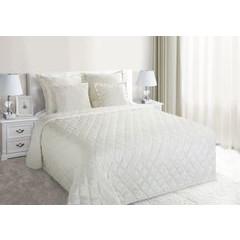 Narzuta na łóżko welwetowa pikowana 200x220 cm kremowa - 200 X 220 cm - kremowy 1