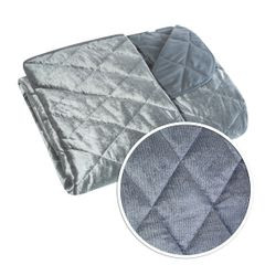 Narzuta na łóżko welwetowa pikowana 200x220 cm stalowa - 200 X 220 cm - stalowy 4