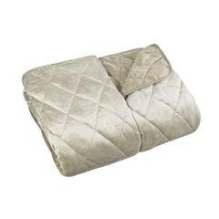 Narzuta na łóżko welwetowa pikowana 170x210 cm beżowa - 170 X 210 cm - beżowy 2