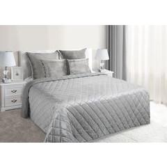 Narzuta na łóżko welwetowa pikowana 170x210 cm srebrna - 170x210 - srebrny 4