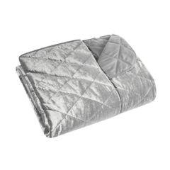 Narzuta na łóżko welwetowa pikowana 170x210 cm srebrna - 170x210 - srebrny 2