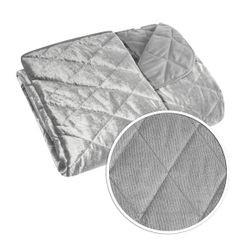 Narzuta na łóżko welwetowa pikowana 170x210 cm srebrna - 170 X 210 cm - srebrny 4