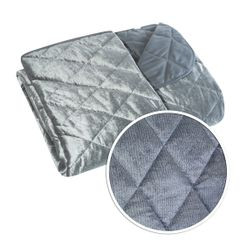 Narzuta na łóżko welwetowa pikowana 170x210 cm stalowa - 170 X 210 cm - stalowy 4