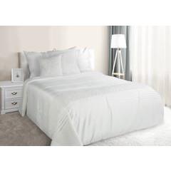 Narzuta na łóżko satynowa kwiatowy ornament 220x240 cm kremowa - 220 X 240 cm - kremowy 1